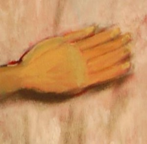 detail of Admired  Woman's hand. Oil paint.