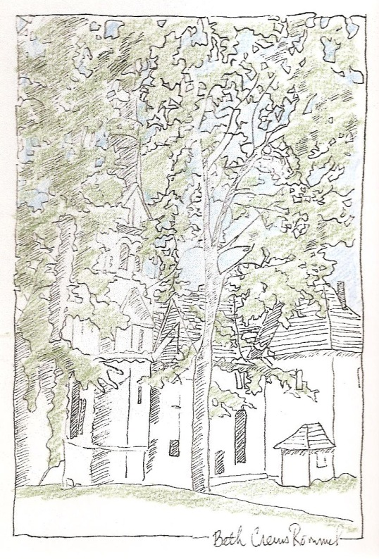 """German Chapel pen and ink, colored pencil 4"""" x 6"""", copyright ECR 2013"""