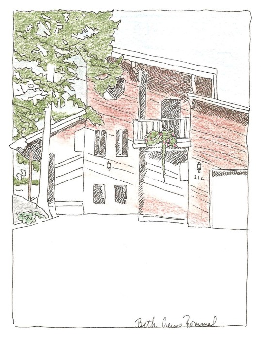 "Montana house pen and ink, color pencil 5"" x 7"", copyright ECR 2013"
