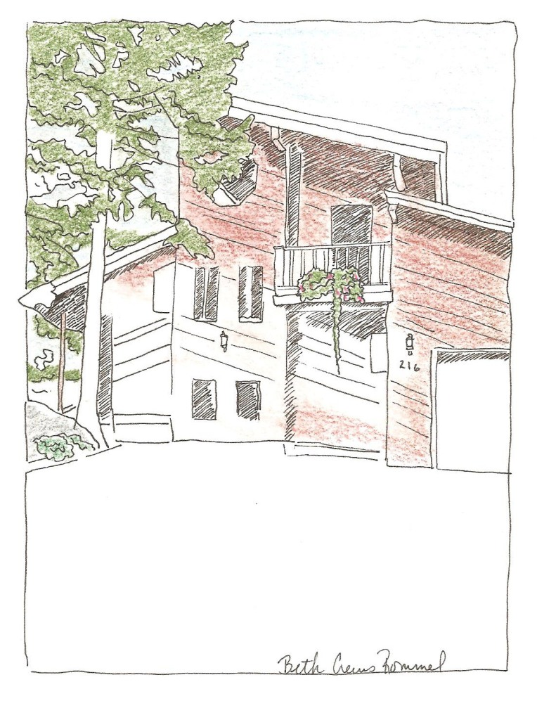 "Montana house pen and ink, color pencil 5"" x 7"", copyright ECR 2013"