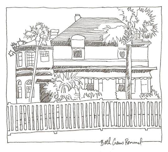 "Florida Beach House pen and ink, 4"" x 6"", copyright ECR 2013"