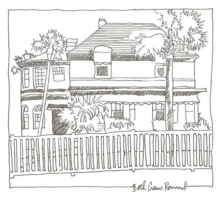 "Florida Beach House pen and ink, 4"" x 6"", copyright ECR 2013"