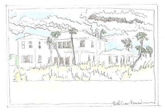"""Florida Beach House pen and ink, color pencil 4"""" x 6"""", copyright ECR 2013"""