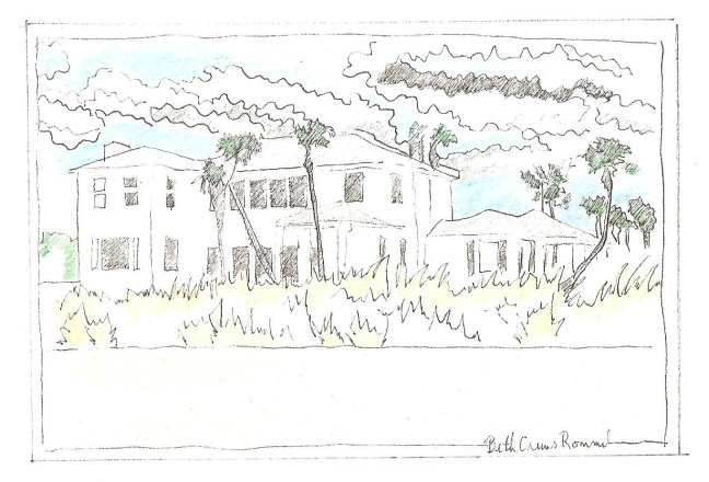 "Florida Beach House pen and ink, color pencil 4"" x 6"", copyright ECR 2013"