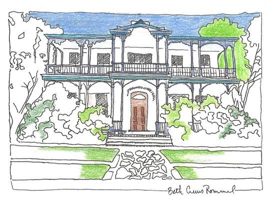 "King William house San Antonio pen and ink, color pencil, 4"" x 6"", copyright ECR 2013"