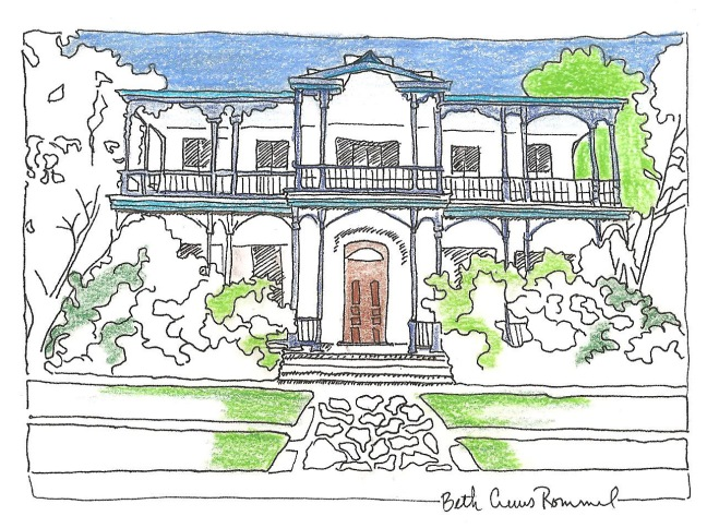 "King William house San Antonio pen and ink, color pencil, 4"" x 6"", copyright ECR 2013"