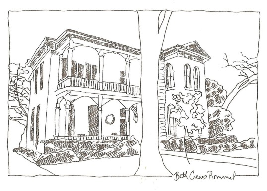 "King William house San Antonio pen and ink 4"" x 6"", copyright ECR 2013"
