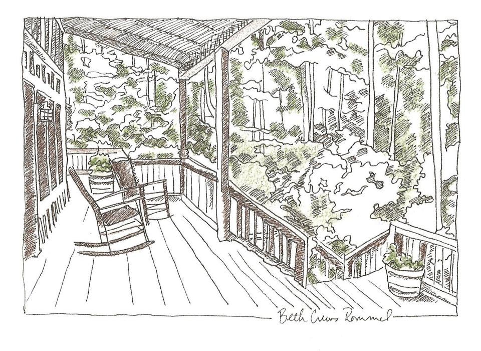 "North Carolina porch pen and ink, color pencil 4"" x 6"", copyright ECR 2013"