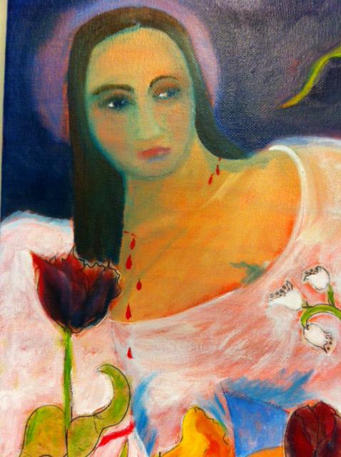 Detail of Saint Dorothy oil on canvas copyright ECR 2013