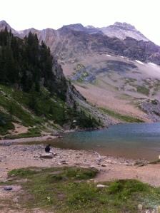 Hamilton Lake, a glacial lake on the top of a mountain.