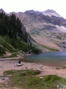 Hamilton Lake, a glacial lake on the top of a mountain.