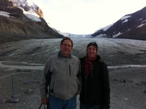 On the glacier.