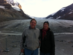 On the glacier.