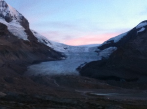 Sunset on the glacier from our hotel window.