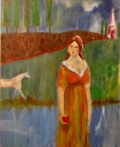Girl with Horse. $375. Oil on canvas.