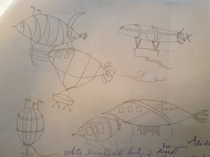 Flying machine sketches.