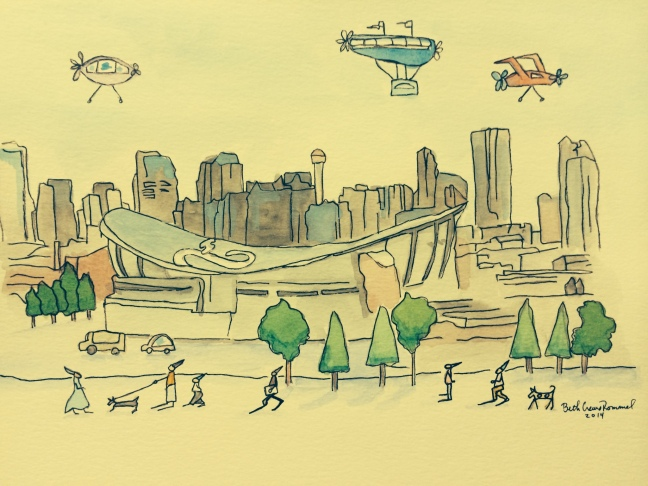 "Calgary, watercolor and ink, 8"" x 10"", copyright ECR 2014"
