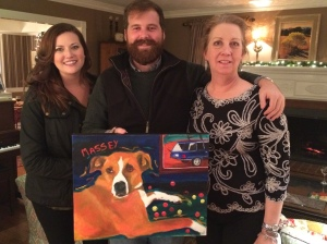 Kathleen, Hank and Beth with painting of Massey.