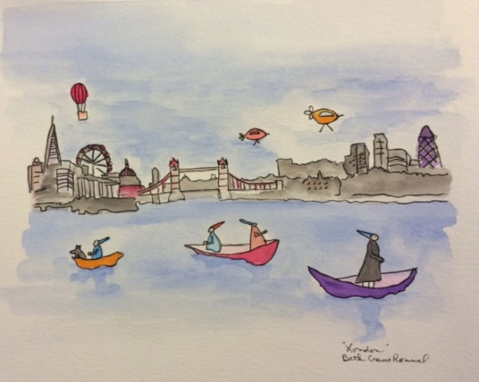 """London watercolor and ink, 8"""" x 10"""", copyright 2014 ECR"""