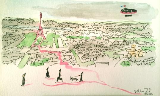 "Paris watercolor and ink, 8"" x 10"", copyright 2015 ECR"