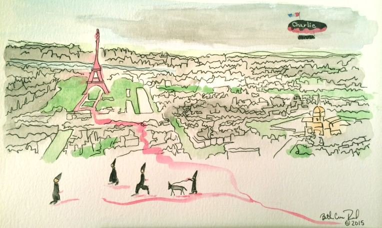 "Paris watercolor and ink, 8"" x 10"", copyright 2015 ECR"