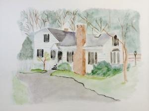"Connecticut home. Watercolor 8"" x 10""."