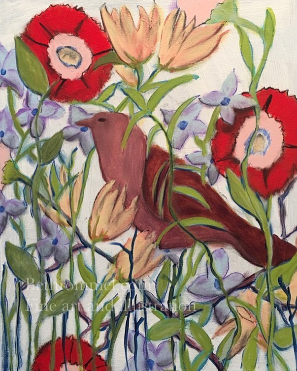Bird, flowers, still life, painting, art, bird watcher