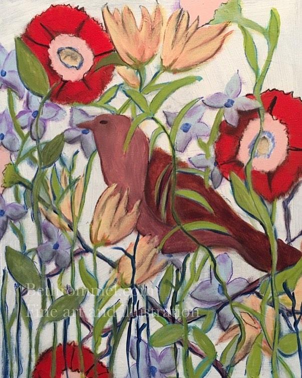 Bird, flowers, still life, painting, art, bird watcher