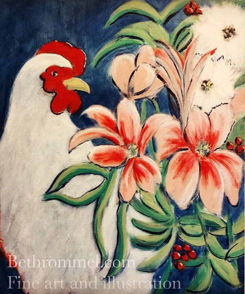 chicken, still life, tropical flowers, free range chicken, art