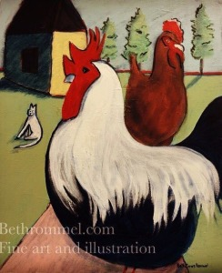 chickens, rooster, free range, painting, art, farm scene, folk life