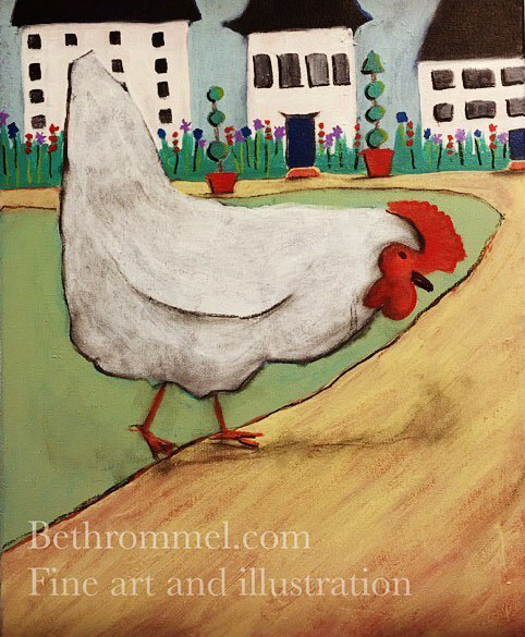 chicken, farm life, painting, art, folk life