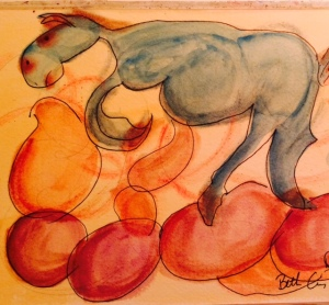 "Day 22 6"" x 12"" watercolor, ink, and pastel $15.00"