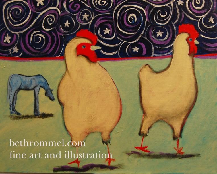 chickens, free range chickens, horse, starry night, pasture, art, painting, folk art