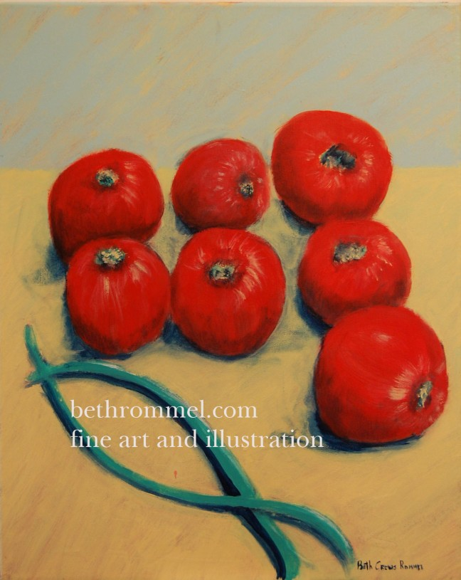 tomatoes, green beans, organic, kitchen garden, painting, art