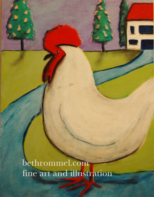 rooster, chicken, farm life, folk art,