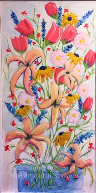 still life, flowers, lily, tulip, painting, art,