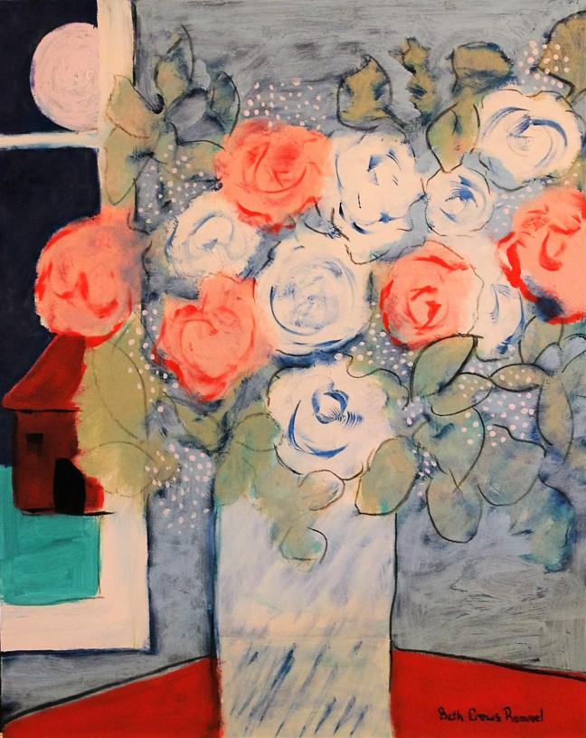 still life, flowers, full moon, mixed media, art paintings for sale