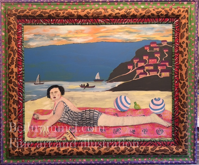 beach painting, acrylic painting, hand painted frame, children on beach, colorful art