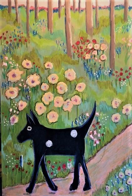 Dog, dog walk, parks, wildflowers, bluebonnets