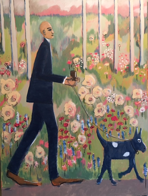 dog, walking the dog, mixed media, city life