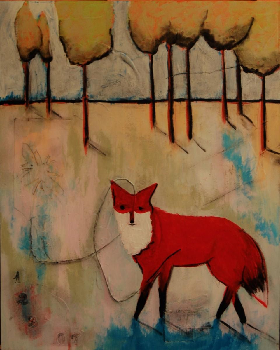 wildlife, fox, mixed media, wildlife art, art collector, nature, Beth Rommel