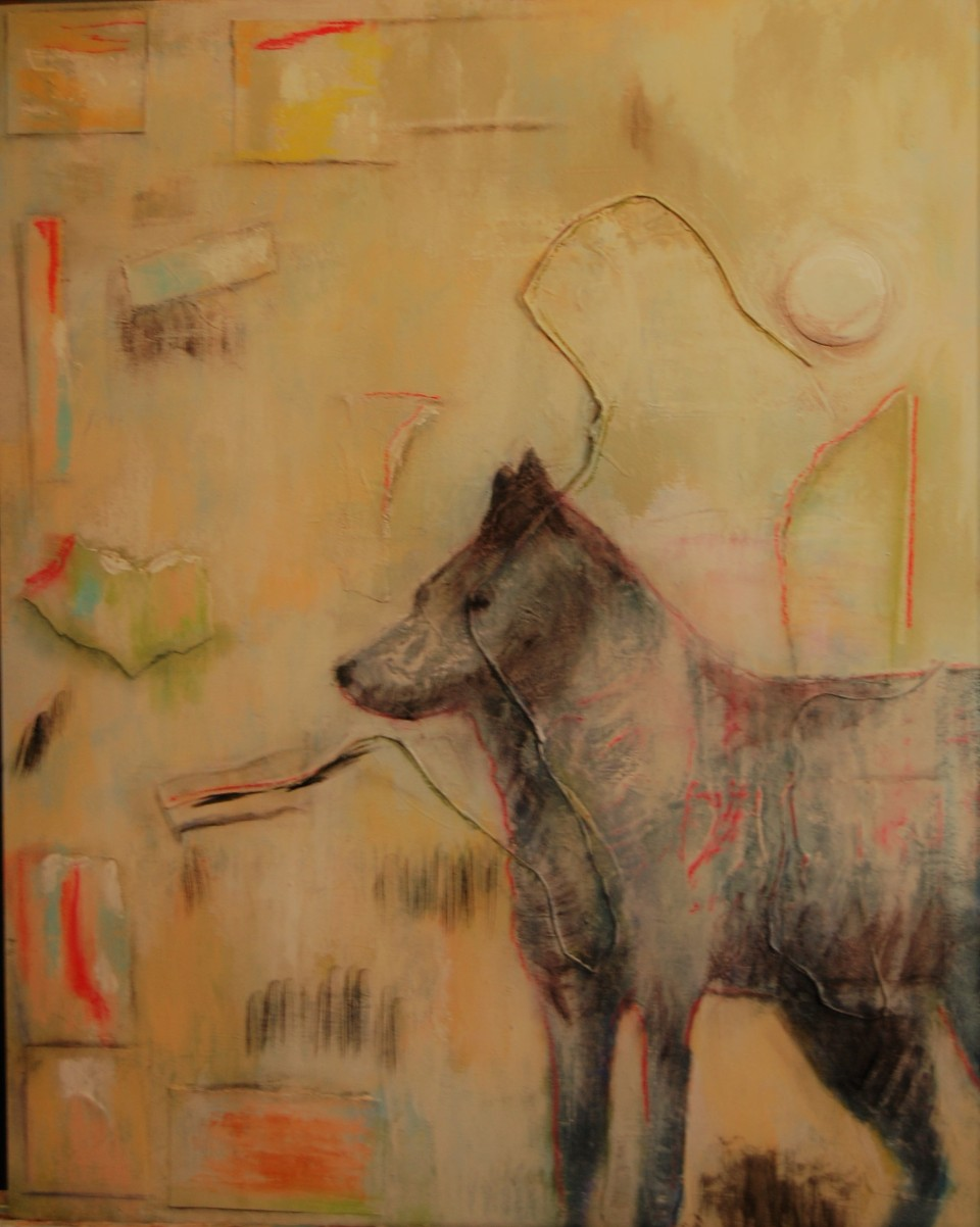 mixed media, wolves, wolf, lone wolf, wildlife, mountains, Beth Rommel, art collector, artist, wildlife art