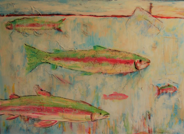 mixed media, trout, fish, wildlife, mountains, Beth Rommel